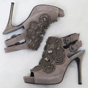 Sam Edelman Quinly Open Toe Suede Jeweled Pump 8